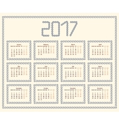2017 year calendar templatecolorful decorative vector
