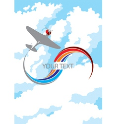 Airplane in clouds vector