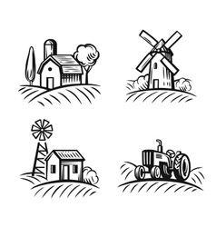 Black farm and field vector