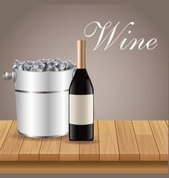 bottle wine ice bucket wooden vector image