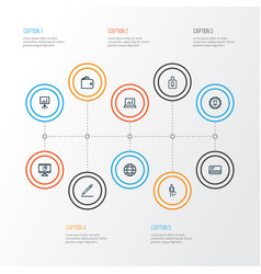Business outline icons set collection of bank vector