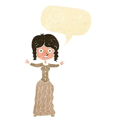 Cartoon worried victorian woman with speech bubble vector