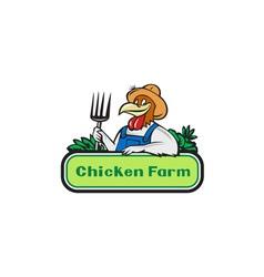 Chicken farmer pitchfork vegetables cartoon vector