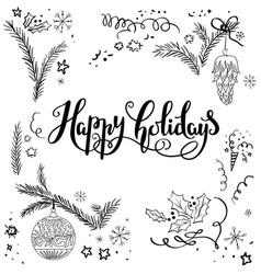 christmas holiday sketch set vector image vector image