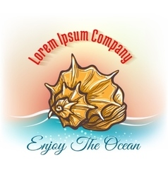 Cruise travelling logo with seashell vector