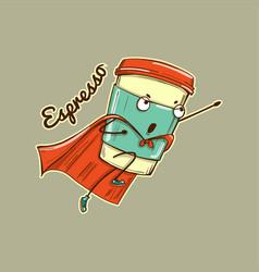 espresso coffee cup superhero character vector image
