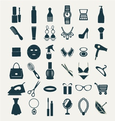 Fashion and women accessories icons vector image