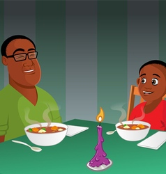father son black dinner vector image
