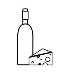 Figure wine bottle with tasty cheese vector