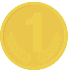 Gold yellow coin isolated on white background vector image