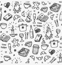 hand drawn seamless pattern time to hygge vector image vector image