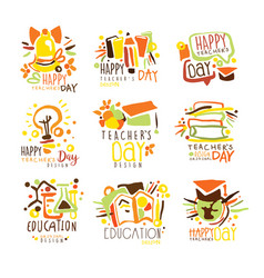 happy teachers day colorful graphic design vector image vector image
