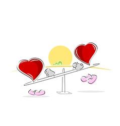 hearts on sea saw vector image vector image