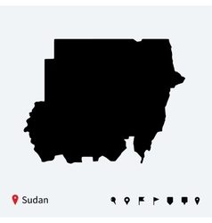 High detailed map of sudan with navigation pins vector