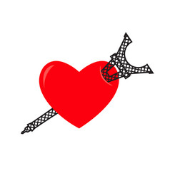 I love paris eiffel tower and heart sign i like vector