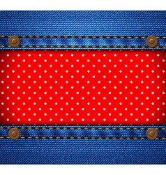 Jeans frame with polka dot patch vector image