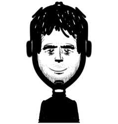 Man figure with headphones sketch vector