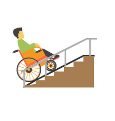 Man in wheelchair riding on stairs picture vector