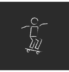 Man on skateboard icon drawn in chalk vector image vector image