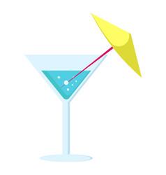 Margarita cocktail in glass long leg with umbrella vector
