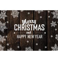 Merry christmas greeting on aged hardwood planks vector