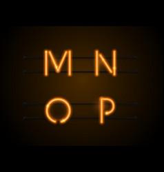 neon font mnop vector image vector image