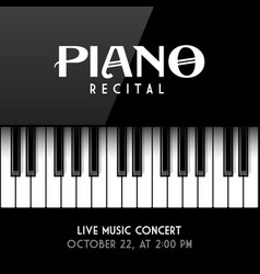 Piano recital poster leaflet or invitation design vector