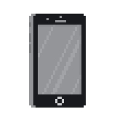 Pixel art style black smartphone gadget isolated vector image