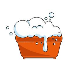 plastic pot with foam icon vector image