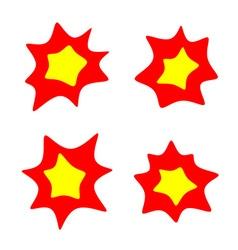 Rounded burst stars set flash blast bright symbols vector