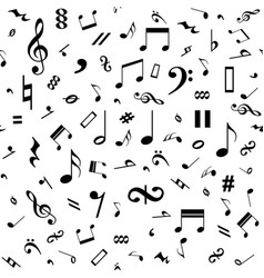 Seamless black and white music notes background vector