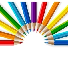 Semicircle of rainbow colored pencils with vector image
