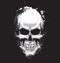 skull artistic splatter black n white vector image