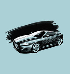 Sports car vehicle sketch vector