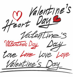 valentines day hand drawn text vector image vector image