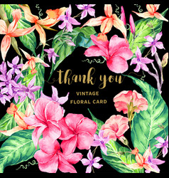 vintage floral tropical thank you card vector image vector image