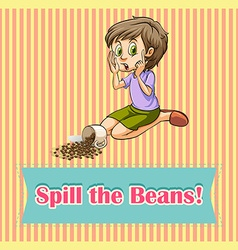 Woman spill the beans vector