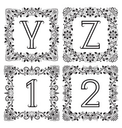 Vintage monograms set Y Z outline letters and 1 2 vector image