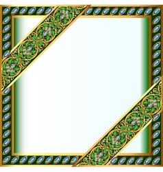 Backgrounds frame with jewels and geometric design vector