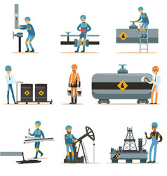Happy people working in oil industry collection of vector