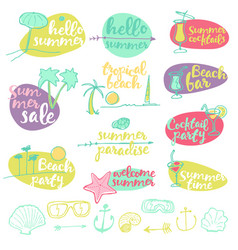 Set summer signs banners party vector
