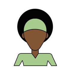 Colorful caricature image faceless half body vector