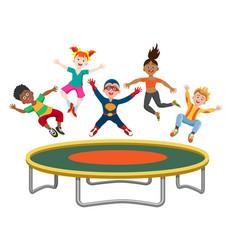 energetic kids jumping on trampoline vector image