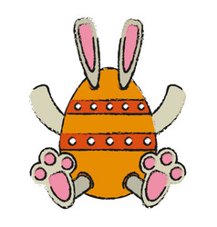 Bunny or rabbit with decorated egg easter related vector