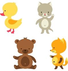 Little cute baby cat bear fox and duck vector