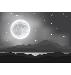 Full moon over mountains and lake night landscape vector