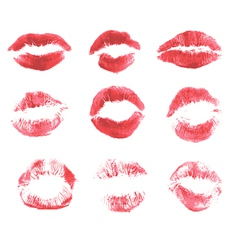 Set of beautiful red lips print on isolated white vector