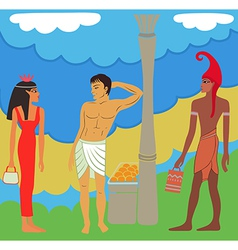 Ancient egyptian-greek market negotiations vector