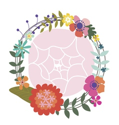 Wreath with a chrysanthemum and poppies vector