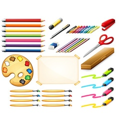 Stationary set with colorpencils and art objects vector image